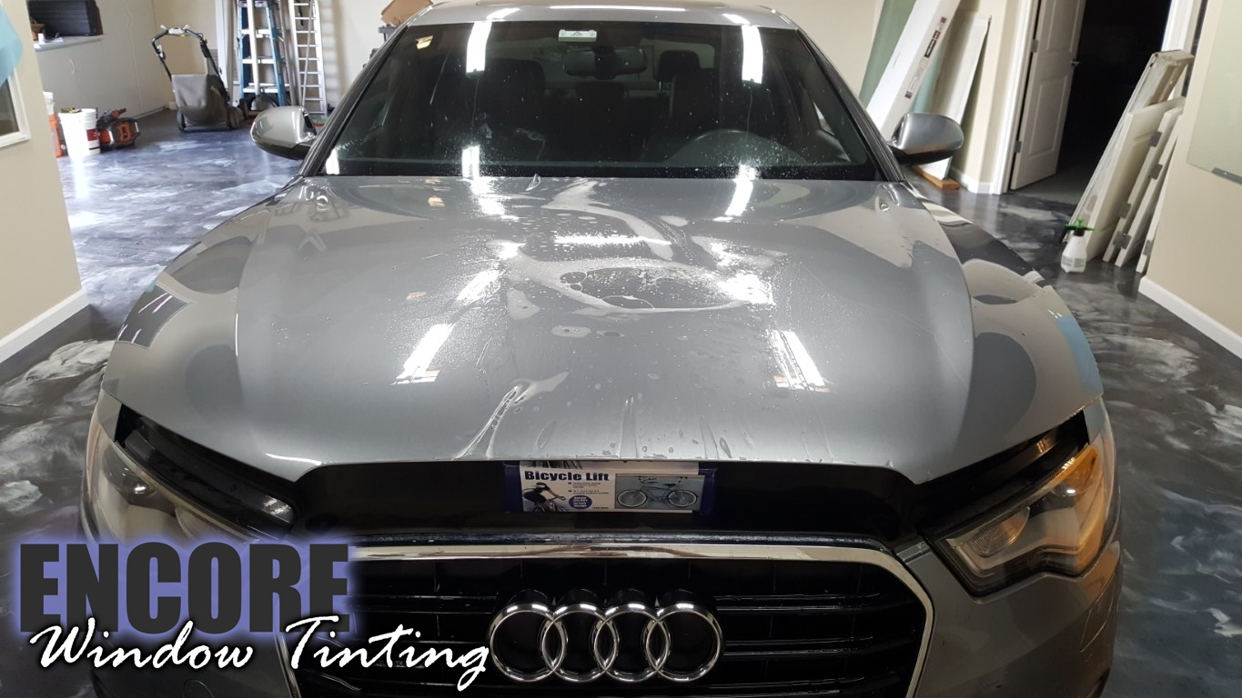 2014 Audi A6 Picture of Paint Protection film on hood during installation