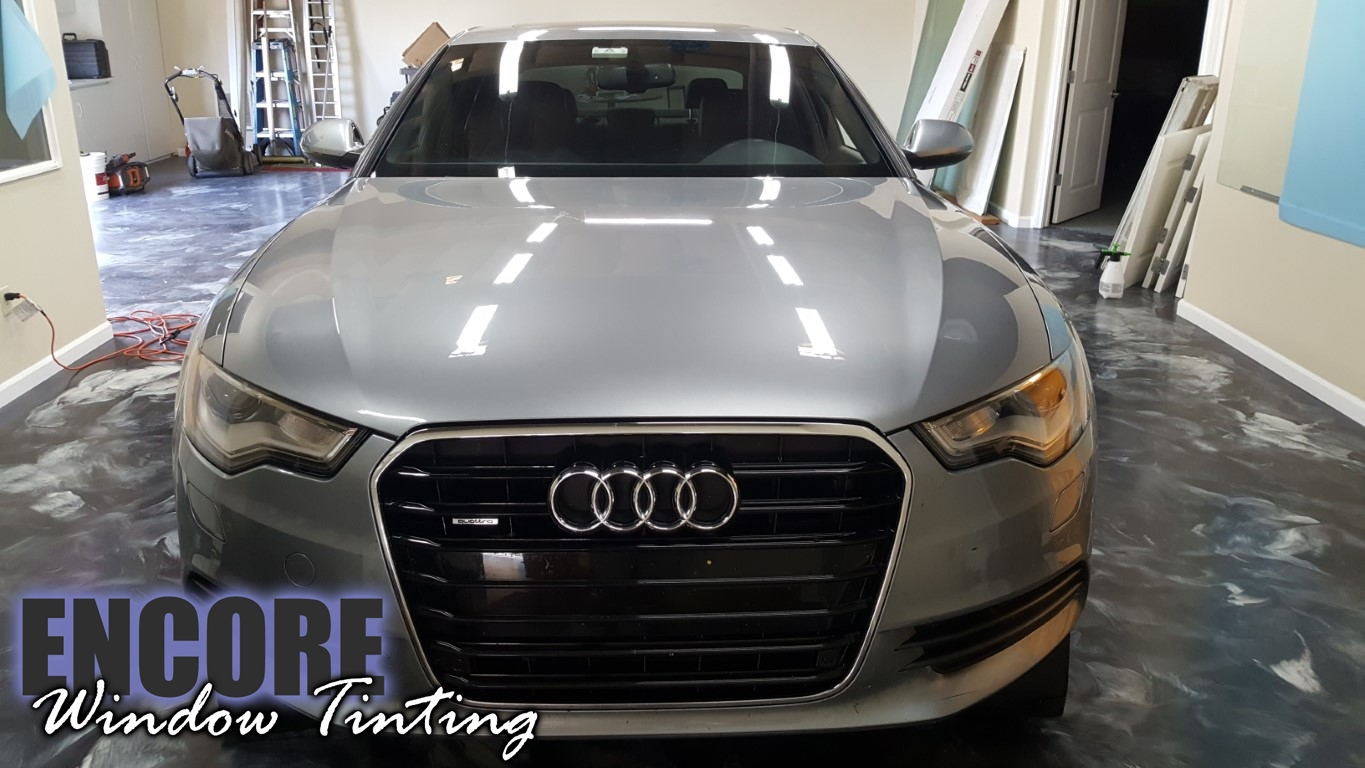 2014 Audi A6 Picture of damaged Paint Protection film on hood different angle