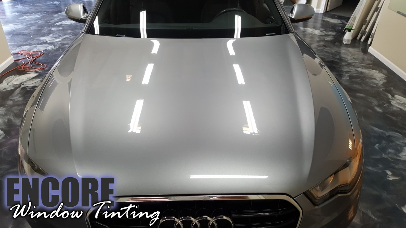 2014 Audi A6 Picture of damaged Paint Protection film on hood