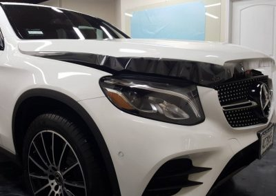 2019 MB GLC 300 picture of the clear bra on the hood drying