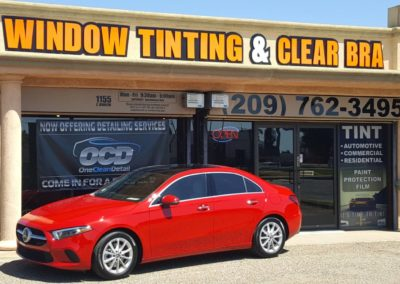 2019 Merceds Benz A220 sitting jout front of encore window tinting